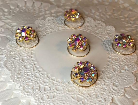 Bridesmaids Hair Coils Ballroom Dancing-Swarovski Hair Spins-Clear AB Flower Hair Coils-Spirals-Hair Swirls