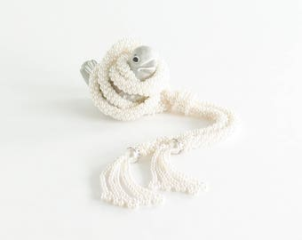 Faux Pearl Woven Lariat Necklace