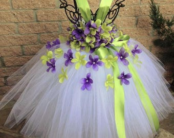 PURPLE and GREEN FLOWERS - Tutu Dress - White Tutu Dress - Flower Girl Gown - Pageant Girl Dress - Green and Purple Tutu - First Birthday -