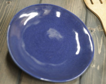 Handmade, Plate, Nice Blue with Black specks in the Glaze, stoneware