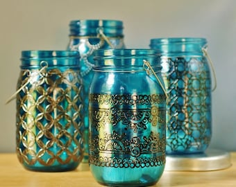Moroccan Mason Jar Lantern, Teal Blue Glass with Black Henna Style Detailing
