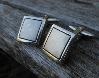 Vintage Silver Square Cuff Links. Space for Monogram. 1990s. Excellent Condition. Gift Men, Dads, Grads, Groomsmen, Husbands, Brothers, Sons