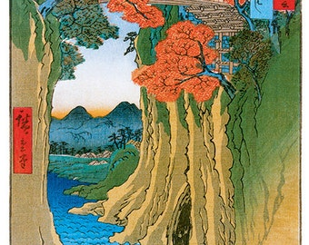 Hand-cut wooden jigsaw puzzle. MONKEY BRIDGE. Hiroshige. Japanese woodblock print. Wood, collectible. Bella Puzzles.