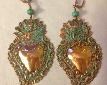 Brass Large Milagro Heart Earrings, Two broke girls, Milagro, Corazon earrings, flaming hearts, Sacred hearts, Kat Dennings, Frida Khalo