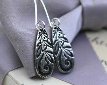 Floral Teardrop earrings Pewter with Sterling earwires