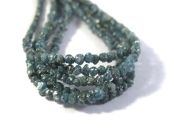 Deep Teal Blue Rough Diamond Nuggets, 16 Inches of Raw Diamond Beads 1.5mm - 2.5mm Diamond Beads, Drilled Bead, Jewelry Supplies (Luxe-Di1)