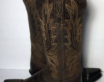 LUCCHESE Brown Leather Western Cowgirl Cowboy Boots Women's Size 6