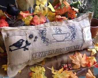 Rustic lumbar burlap pillow, burlap bird on branch coffee pillow, cafe pillows