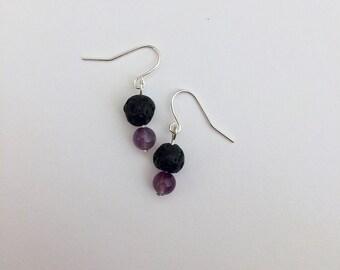 Diffuser Earrings - Amethyst Earrings - Minimalist Earrings - Essential Oils Earrings - Drop Earrings - Amethyst - Gift For Her - Self Care