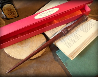 Hand carved African Samba wood wand: Victorum with its red box