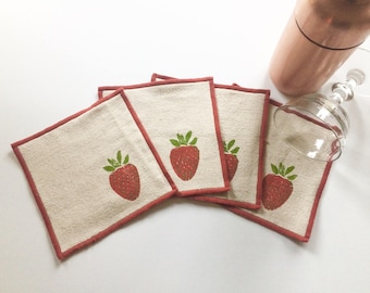 Strawberry Cocktail Napkin Set of Four-Handmade in Seattle- Cloth Napkins-Eco friendly-Block Printed-Reusable Napkins-Housewarming Gift