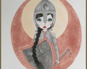 Original art Acorn Warrior lowbrow fantasy art