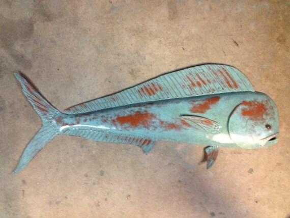 Mahi Mahi 36in Metal Fish Wall sculpture Tropical Beach Coastal