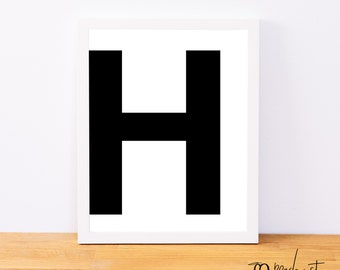 Letter H, Typography Print, Letter Print, Printable Monogram, Printable Art, Minimal Decor, Black and White Wall Art, Digital Download