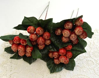 vintage cristmas holiday arrangement picks corsage crafting picks flower arrangement picks wreath making red gold glitter berries