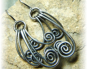 Shadow SpIrIt - Sterling Silver Spiral Earrings - Handmade to Order and Oxidized or Shiny