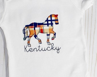 Kentucky Derby or Personalized Name Horse Boys' Onesie or T-Shirt Plaid Applique