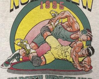 1995 Wrestling T shirt Northview High School Covina California Souvenir Sports Graphics Collectible
