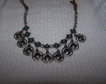 Silver Leather Dangle Charms Turquoise Necklace