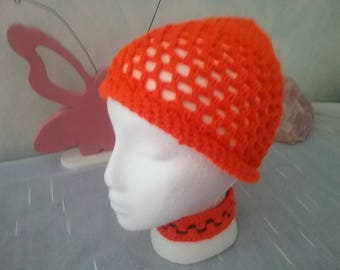 Summer Hat / Beanie summer / power hood / Hat / Cap with gerollter brim / ORANGE color