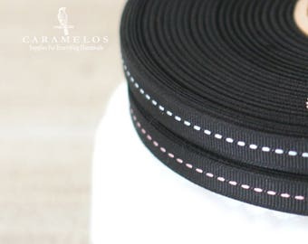 """Black grosgrain ribbon with Pink or Blue stitch center 3/8"""""""