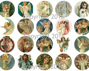Printed Vintage Victorian Angel Circles Collage Sheet # 103, 8.5 x 11 Printed Sheet