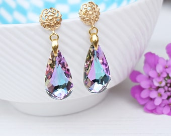 Teardrop crystal bridesmaid earrings Purple 24k gold plated drop earrings Lavender teal Swarovski crystal jewellery bridesmaid gift 4