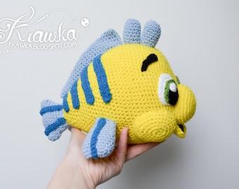Crochet PATTERN No 1803 Yellow flounder fish by Krawka