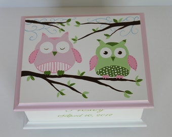Baby Keepsake Box pink and green owls  memory box personalized baby girl gift hand painted