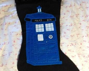 dr. who tardis inspired christmas stocking hand embroidered felt