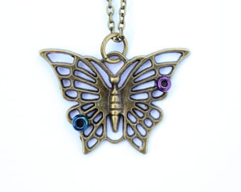 Antique Bronze Butterfly Pendant
