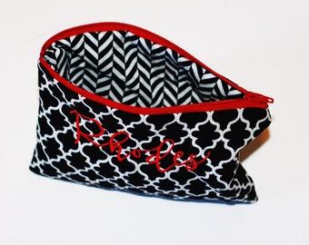 Zipper Pouch, Monogrammed Quatrefoil Bag, Black and Red Bag, Black and Red Pouch, Personalized Pouch, Bridesmaids Gift, Makeup Pouch
