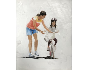 Mother Daughter Painting Art PRINT Mother and Daughter Cycling - Art Print - from original painting by J Coates