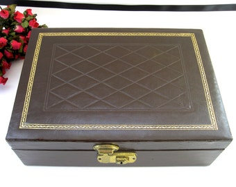 Mid-Century 2-Tier Jewelry Box • Brown Leather-Look Gold Stamped with Key • Mele Style