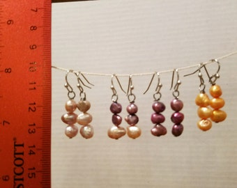 Freshwater pearl earrings. Pink, wine and apricot to choose from