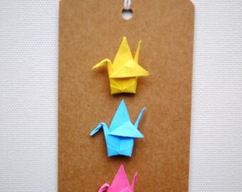 Origami crane gift tag - bright colours