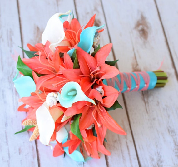 Natural Touch Wedding Bouquet Coral Turquoise Aqua Teal