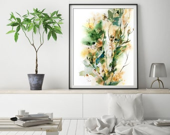 Abstract green fine art print, leaves intuitive watercolor painting art, abstract botanical wall art print