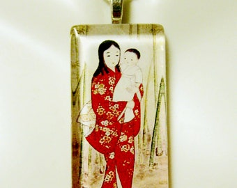 Japanese Madonna and child pendant with chain - GP01-321