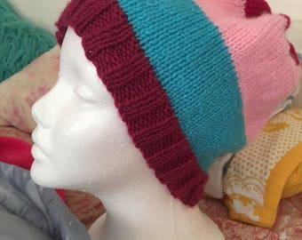 pink and blue multicolor hat