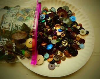 Lot of Vintage Buttons; Antique Buttons; Rare Buttons; Bone, Shell, Plastic, Buttons; Button Sale; Vintage Clothing; Two Pounds of Buttons