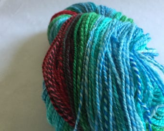 Handspun wool knitting yarn