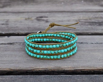 Leather Bracelet Turquoise Wrap Bracelet Turquoise Bracelet Jasper Leather Wrap Bracelet Bridesmaid Gift For Her Mother's Day Gift