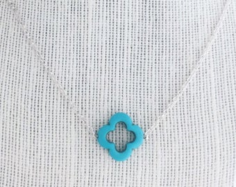 Teal clover necklace