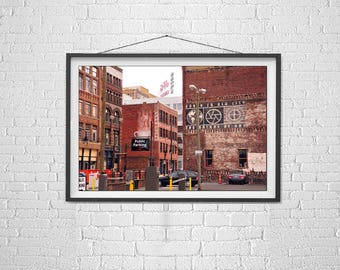 Photograph, Knoxville Tennessee,  Painted Brick Buildings, Architecture, Commercial Photography, Fine Art Print, Urban Art, Color Photograph