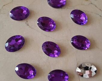 set of 10 large 18 x 13 mm purple rhinestones