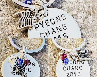 Olympic Keychain 2018 Pyeong Chang, Athlete Keychain, Olympic Gift, Olympic 2018, USA