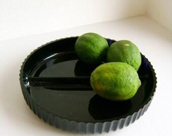 Black glass divided dish