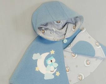 Wool Capelet. Children Cape, Poncho, Costume, Handmade, Wool, Girls, Owl, Moon