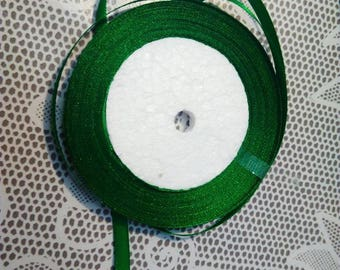 1 meter Ribbon green satin, width 6 mm, by the yard
